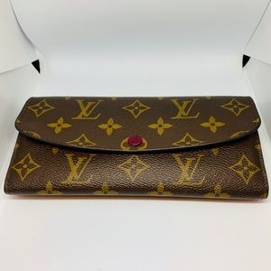 EUC Louis Vuitton Emilie Wallet - Monogram/Fuchsia